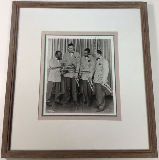 Framed Signed Photograph of Lionel Hampton's brass section. Lionel HAMPTON
