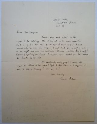 Autographed Letter Signed to Pulitzer Prize-winning poet Leonora Speyer. Conrad AIKEN, 1889 - 1973