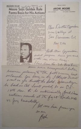 "Autographed Letter Signed ""Archie"" on his Newspaper Letterhead. Archie MOORE, 1916 - 1998."