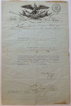 Document Signed by the President of Mexico. Pedro Maria ANAYA, 1795 - 1854