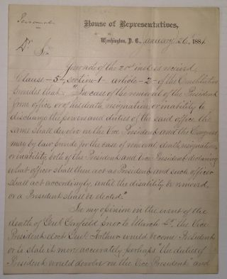 "Autographed Letter Signed on ""House of Representatives"" letterhead. Samuel Jackson RANDALL"