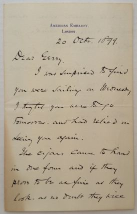 "Autographed Letter Signed on ""American Embassy"" letterhead. Joseph H. CHOATE, 1832 - 1917"