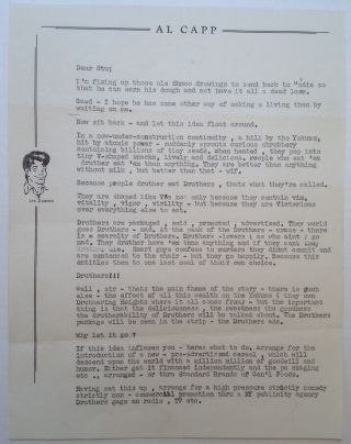 Comical Typed Letter on personal letterhead. Al CAPP, 1909 - 1979