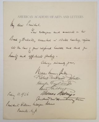 Autographed Letter Signed to Princeton president William Milligan. Nicholas Murray BUTLER,...