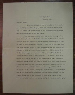 Typed Letter Signed about child labor laws. Charles W. ELIOT, 1834 - 1926