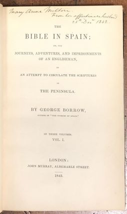 First Editions of various George Borrow Titles, Bound as Matching Set:; The Zincali, The Bible in Spain, Lavengro, The Romany Rye, Wild Wales, Romano Lavo-Lil.