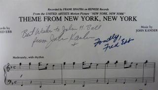 "Inscribed sheet music -- ""Theme from New York, New York"""