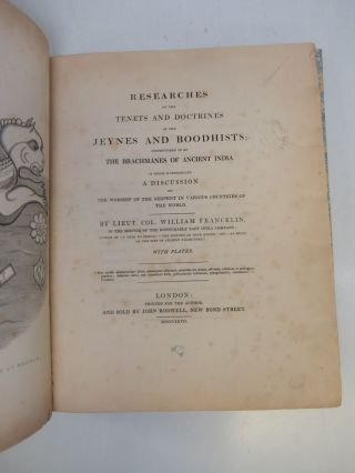 Researches on the Tenets and Doctrines of the Jeynes and Boodhists; Conjectured to be the Brachmanes of Ancient India.