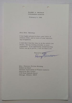 Typed Letter Signed to Florence Shientag. Harry S. TRUMAN, 1884 - 1972