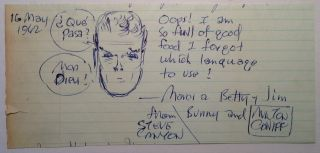 Autographed Note Signed with an original Steve Canyon sketch. Milton CANIFF, 1907 - 1988.