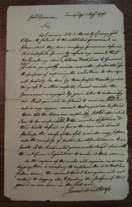 Lengthy Autographed Letter Signed to General Dennison. James WINTHROP, 1752 - 1821.