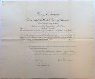 Document Signed as President. Harry S. TRUMAN, Dean ACHESON.