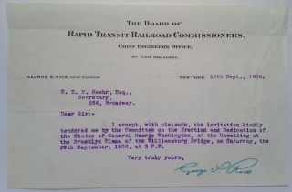 "Typed Letter Signed on ""Rapid Transit Railroad Commissioners"" letterhead. George S. RICE, 1849 - 1950."