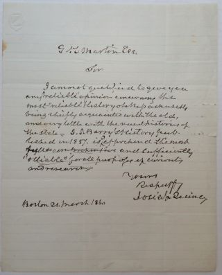 Autographed Letter Signed about Massachusetts history. Josiah QUINCY, 1802 - 1882.