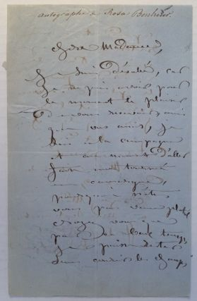 Autographed Letter Signed in French. Rosa BONHEUR, 1822 - 1899