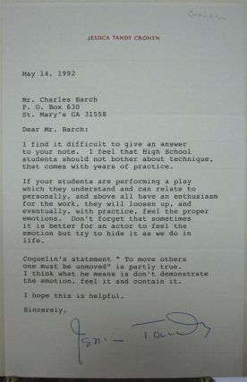 Typed Letter Signed on personal stationery. Jessica TANDY, 1909 - 1994