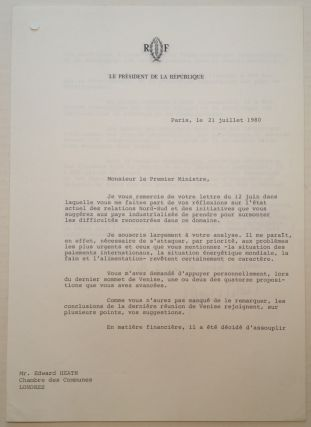 Typed Letter Signed in French on Presidential Letterhead. Valery GISCARD D'ESTAING, 1926