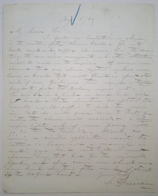 "Autographed Letter Signed about his ""caloric"" engine invention. John ERICSSON, 1803 - 1889"