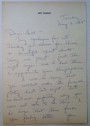 "Autographed Letter Signed ""Art"" to a Publicist. Art CARNEY, 1918 - 2003"