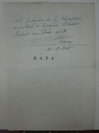 Inscription and Signature. Francisco FRANCO, 1892 - 1975