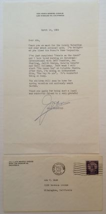 "Typed Letter Signed ""Joan"" on personal letterhead. Joan CRAWFORD, 1904 - 1977"