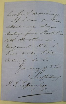 """Autographed Letter Signed """"Shaftesbury"""""""