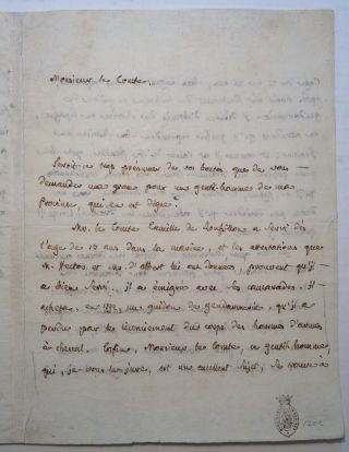 Autographed Letter Signed in French. Jean Joseph Antoine COURVOISIER, 1775 - 1835