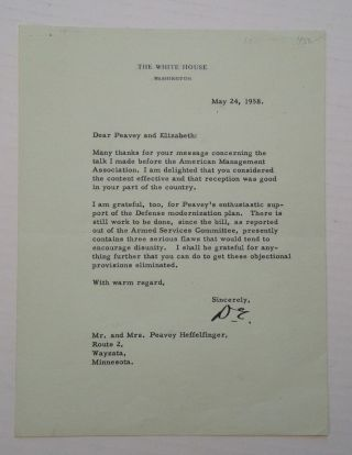 "Typed Letter Signed ""D.E."" Dwight D. EISENHOWER."