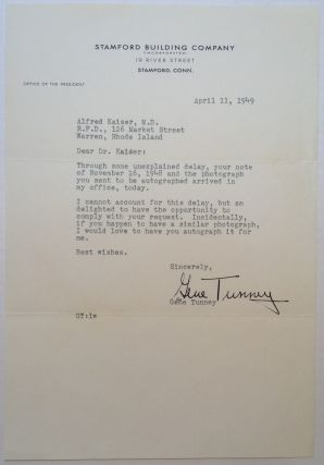Gracious Typed Letter Signed. Gene TUNNEY, 1897 - 1978.