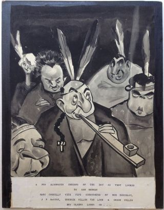 Original Artwork depicting members of The Algonquin Round Table. Sam BERMAN, 1906 - 1995