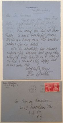 Autographed Letter Signed on personal stationery. Aline BERNSTEIN, 1880 - 1955.