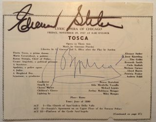 Autographed fragment of a concert program. Jussi BJOERLING, Eleanor STEBER