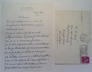 Autographed Letter Signed in French. Robert CASADESUS, 1899 - 1972