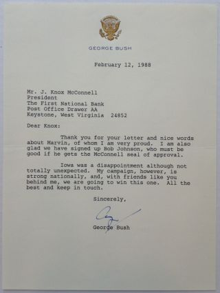 Typed Letter Signed during his campaign for President. George H. W. BUSH, 1924 -.