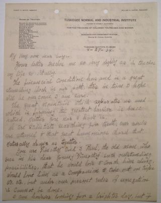 Autographed Letter Signed. George Washington CARVER, 1864 - 1943