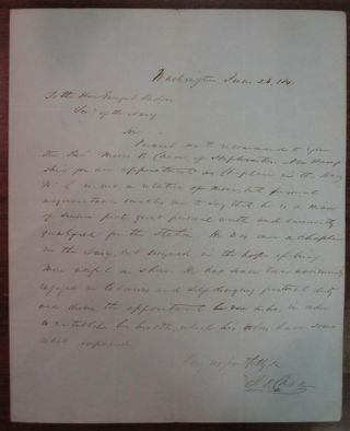 Autographed Letter Signed. Salmon P. CHASE, 1808 - 1873