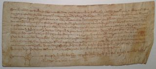 14th-Century Document -- a Receipt for Sale of Land. BARCELONA REAL ESTATE.