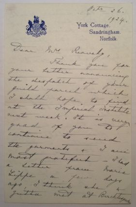 Autographed Letter Signed. Queen of England MARY, 1867 - 1953