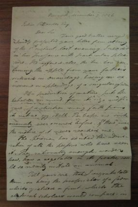 Autographed Letter Signed. Samuel Latham MITCHELL, 1764 - 1831