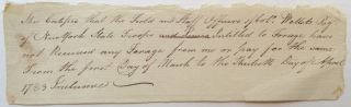 Autographed Document Signed. AMERICAN REVOLUTION -- Col. James Willets.