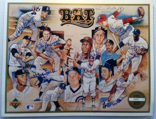 Signed Limited Edition Print. Whitey FORD, Bob, GIBSON, Warren, SPAHN