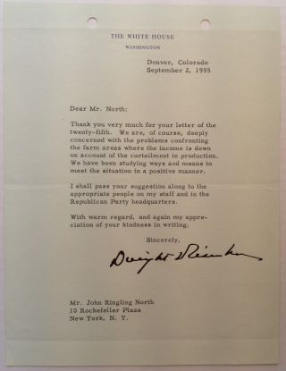 Typed Letter Signed to John Ringling North. Dwight D. EISENHOWER, 1890 - 1969