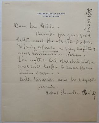 Autographed Letter Signed to Hamilton Fish. Howard Chandler CHRISTY, 1873 - 1952