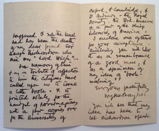 """Autographed Letter Signed on """"Royal Society of British Artists"""" embossed letterhead"""