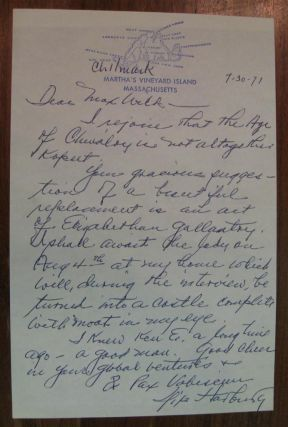 Autographed Letter Signed to author Max Wilk. Yip HARBURG, 1896 - 1981
