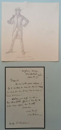Autographed Letter Signed with Original Pencil Sketch. George DU MAURIER, 1834 - 1896.