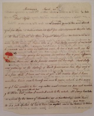 Autographed Letter Signed to his father. Richard MORRIS, 1765 - 1814