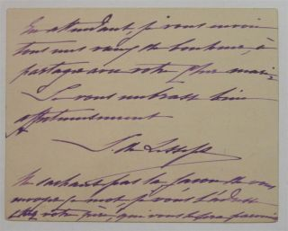 Autographed Note Signed in French. Ferdinand DE LESSEPS