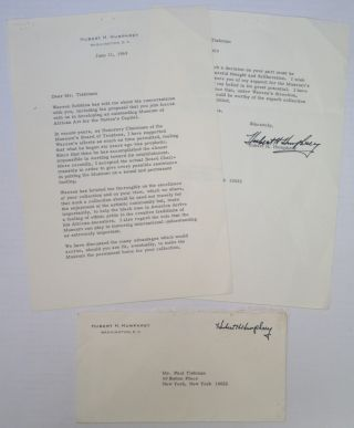 Typed Letter Signed to a prominent art collector. Hubert HUMPHREY, 1911 - 1978.