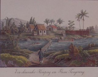 Ein chinesischer Kampong am Flusse Tangerang (Chinese soldier crossing the River...